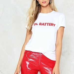 No Battery White and Red Relaxed Tee Size S